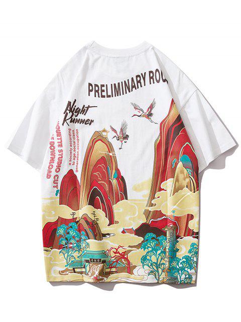 new Landscape Letter Print Short Sleeve T-shirt - WHITE M Mobile