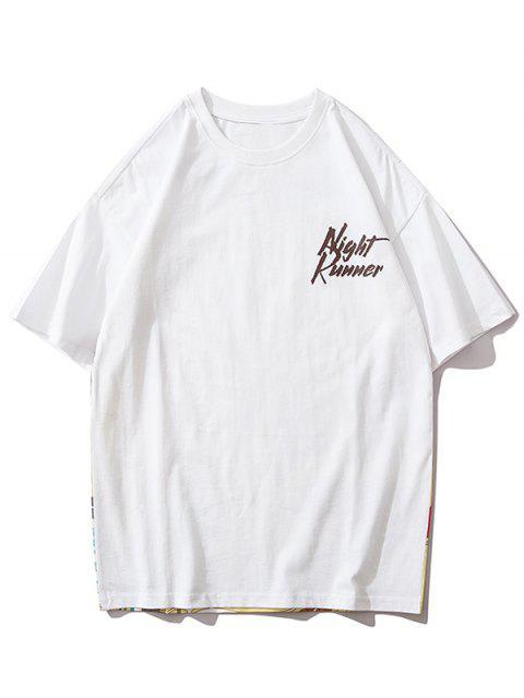 hot Landscape Letter Print Short Sleeve T-shirt - WHITE L Mobile