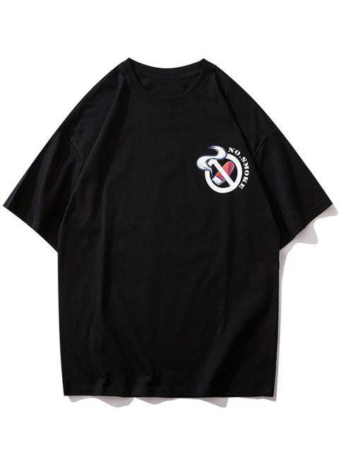 fashion Cartoon Character Letter Graphic Print Short Sleeve T-shirt - BLACK M Mobile