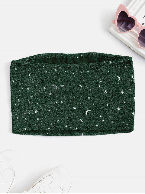 Topo Barriga de Fora com Estampa de Lua e Estrela - Verde Escuro S Mobile