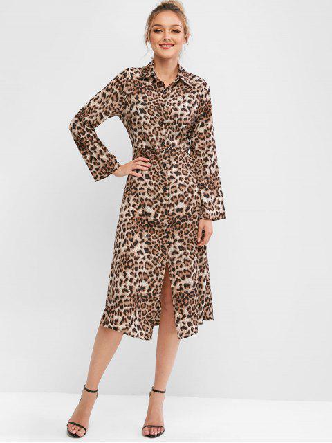 Vestido Midi Manga Larga Estampado Leopardo - Multicolor-A S Mobile