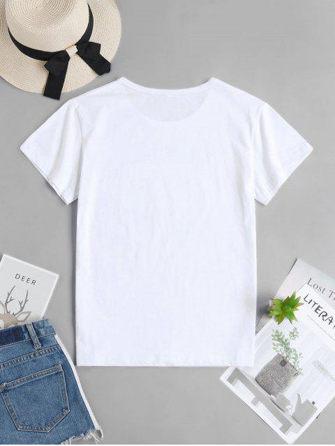 women's Hand Graphic Short Sleeve Cotton Tee - WHITE L Mobile