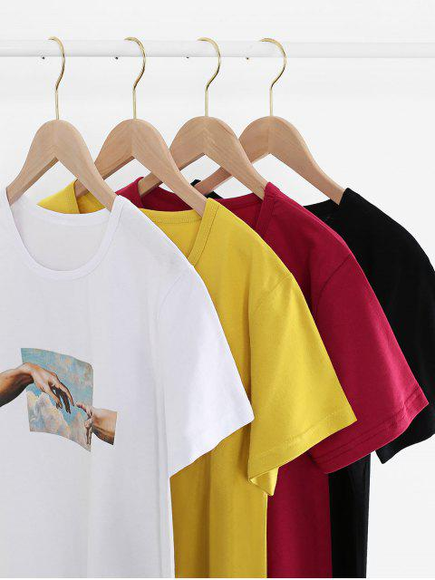 shop Hand Graphic Short Sleeve Cotton Tee - WHITE 2XL Mobile