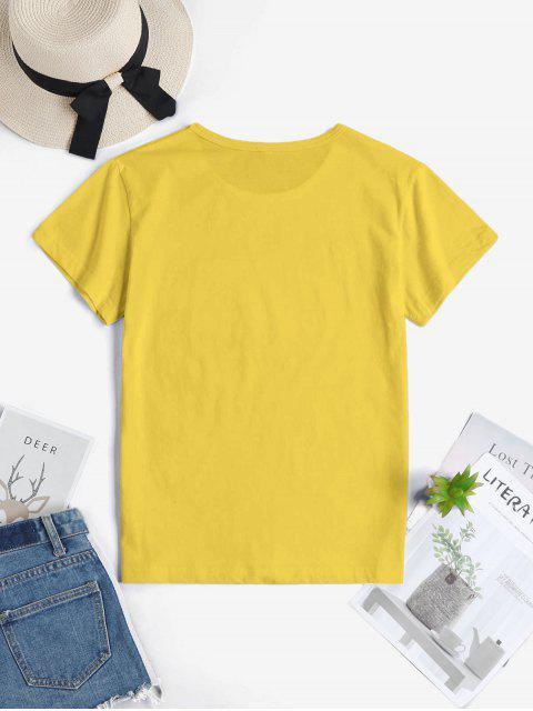 ladies Hand Graphic Short Sleeve Cotton Tee - YELLOW M Mobile