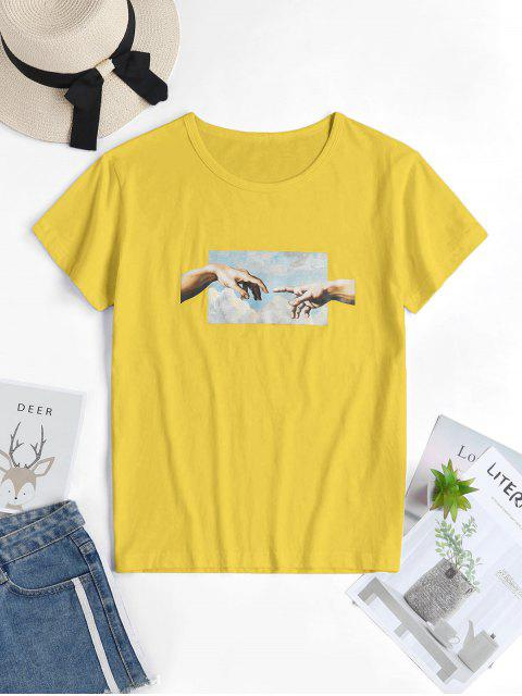 best Hand Graphic Short Sleeve Cotton Tee - YELLOW XL Mobile