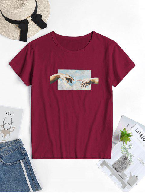 outfit Hand Graphic Short Sleeve Cotton Tee - RED WINE L Mobile