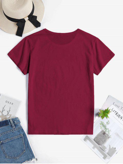 Hand Graphik T-Shirt aus Baumwolle - Roter Wein 2XL Mobile