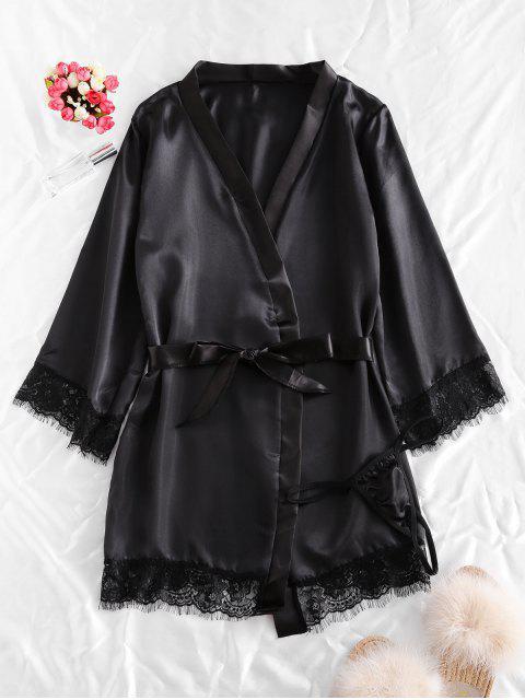 women's Lace Trim Satin Robe Set - BLACK L Mobile