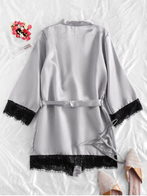 chic Lace Trim Satin Robe Set - GRAY S Mobile