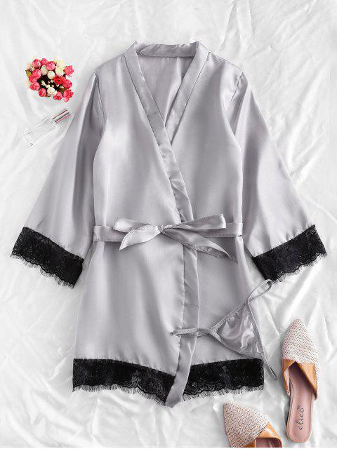 lady Lace Trim Satin Robe Set - GRAY XL Mobile