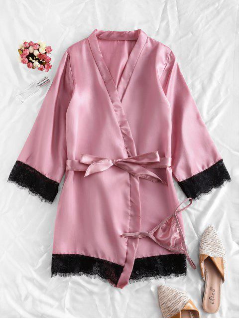 outfit Lace Trim Satin Robe Set - PINK ROSE M Mobile