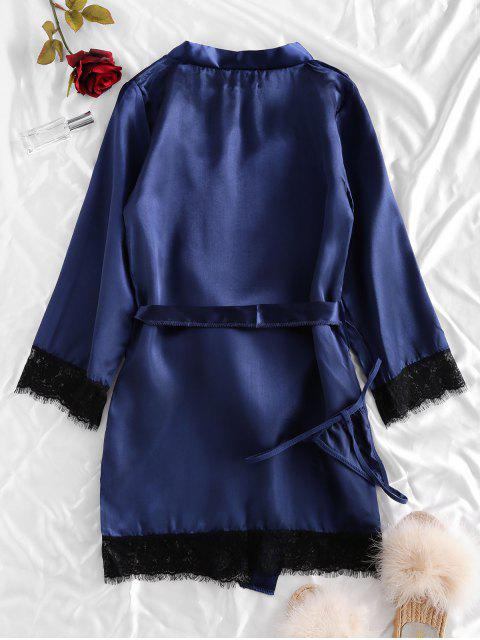 outfits Lace Trim Satin Robe Set - BLUE S Mobile
