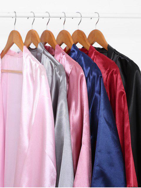 fashion Lace Trim Satin Robe Set - BLUE L Mobile