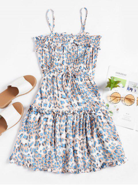 Mini Vestido de Tirante Fino de Cintura de Smocked de Leopardo - Azul L Mobile