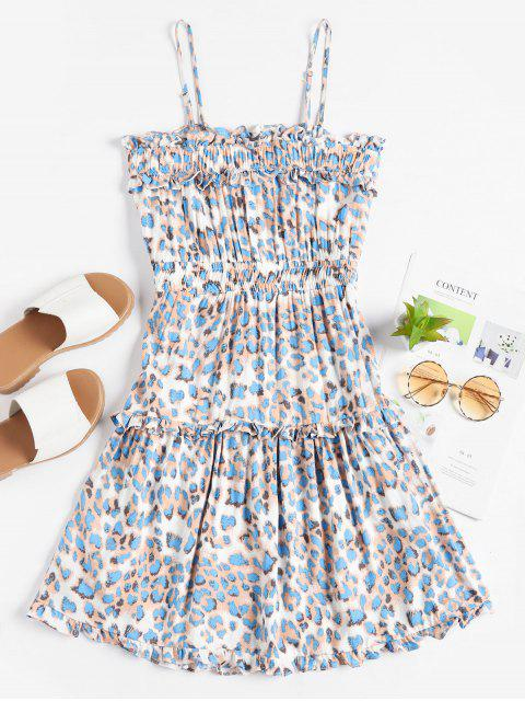 sale Smocked Waist Leopard Cami Mini Dress - BLUE M Mobile