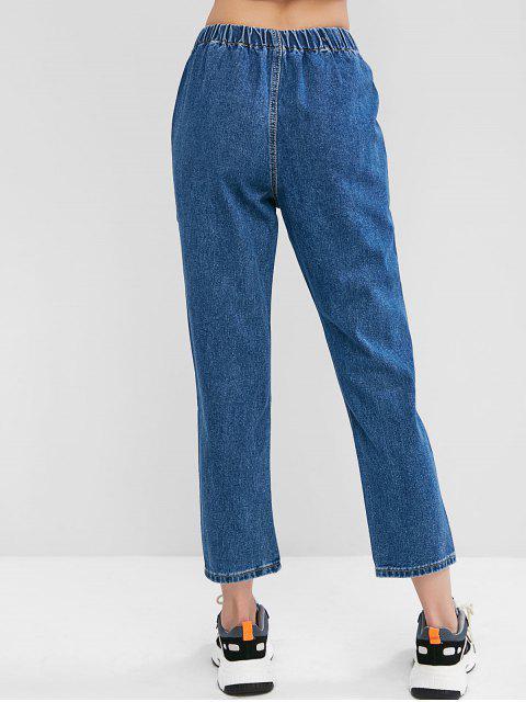 Jean Crayon à Taille Elastique avec Poche - Bleu S Mobile