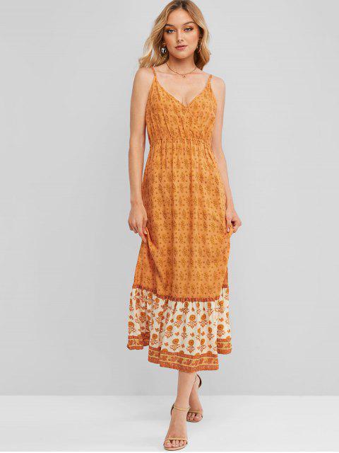 sale Ditsy Floral Cami Surplice Midi Dress - PUMPKIN ORANGE M Mobile