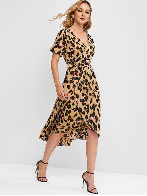 women's Leopard Belt Midi Wrap Dress - MULTI-A S Mobile