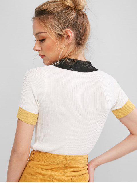 T-shirt TricotéDemi-Boutonné en Blocs de Couleurs - Blanc Taille Unique Mobile