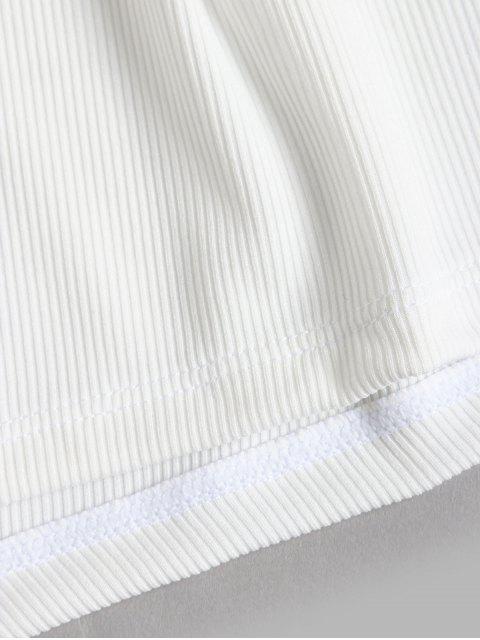 ZAFUL Short de Plage Ceinturé Côtelé à Jambe Large - Blanc M Mobile