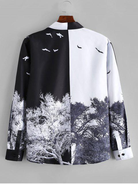 ladies Chinese Style Tree Print Long Sleeve Shirt - MULTI XL Mobile