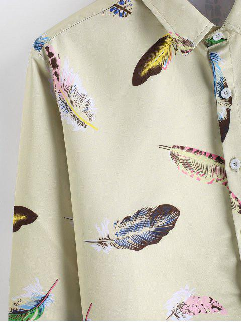 sale Feather Print Long Sleeve Satin Shirt - MULTI 2XL Mobile
