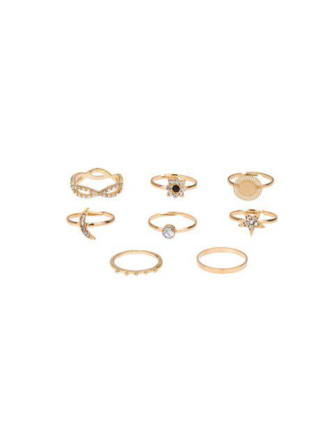 chic 8 Piece Rhinestone Star Moon Floral Finger Rings Set - GOLD  Mobile