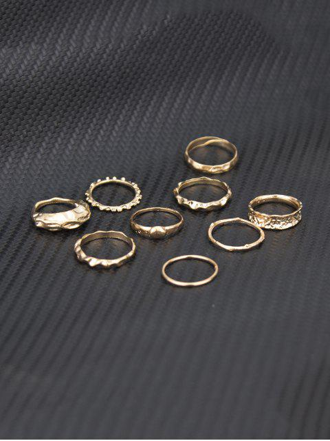 affordable 9 Piece Simple Style Crinkle Metal Finger Rings Set - GOLD  Mobile