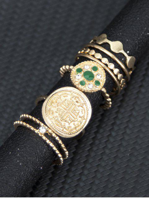 women 7 Piece Rhinestone Round Finger Rings Set - GOLD  Mobile
