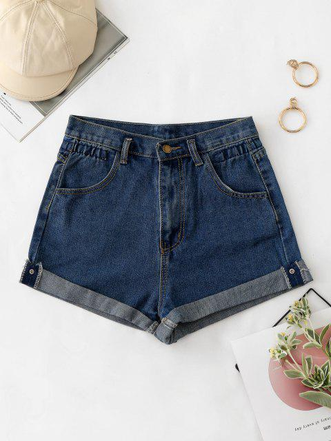 Shorts Denim Cintura Alta y Cordones - Azul Oscuro de Denim M Mobile