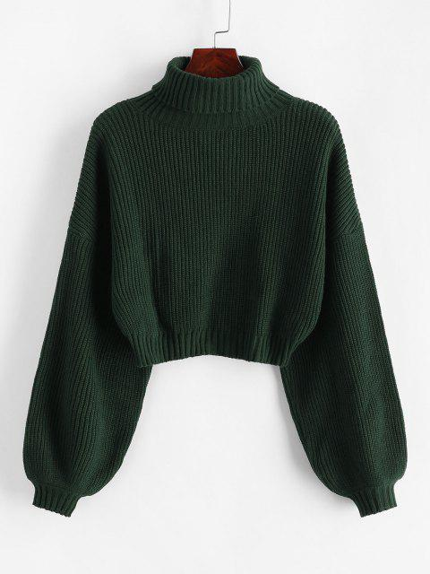 latest ZAFUL Turtleneck Lantern Sleeve Cropped Sweater - GREEN M Mobile