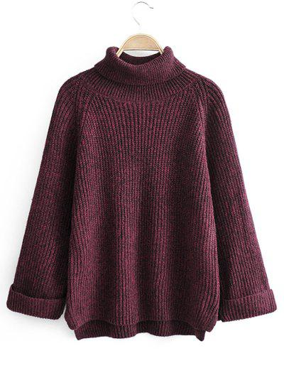 Turtleneck Side Slit High Low Sweater - Red Wine