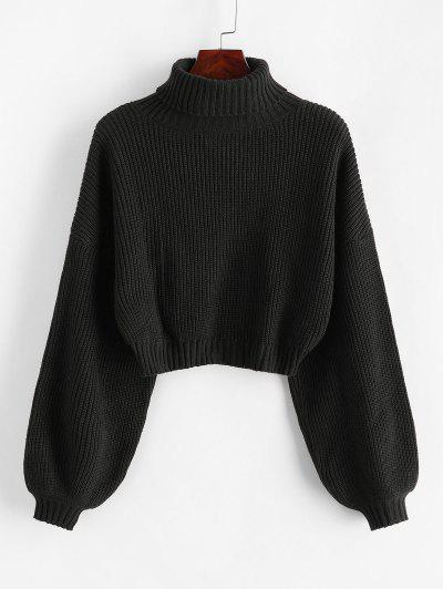 ZAFUL Turtleneck Lantern Sleeve Cropped Sweater - Black L