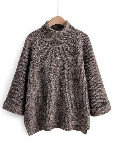 Turtleneck Side Slit High Low Sweater - Coffee