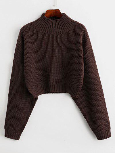 ZAFUL Drop Shoulder Mock Neck Plain Sweater - Deep Brown M