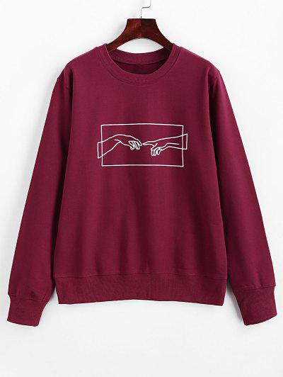 ZAFUL Hands Graphic Basic Pullover Sweatshirt - Red Wine M