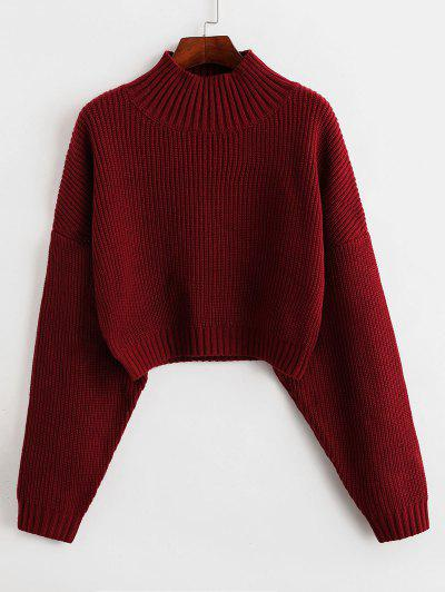 ZAFUL Drop Shoulder Mock Neck Plain Sweater - Red L