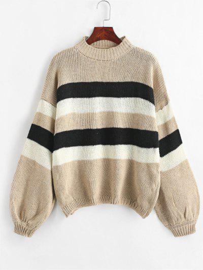 Lantern Sleeve Stripes Pullover Sweater - Camel Brown