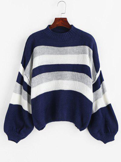 Lantern Sleeve Stripes Pullover Sweater - Multi