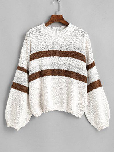 Lantern Sleeve Stripes Pullover Sweater - White
