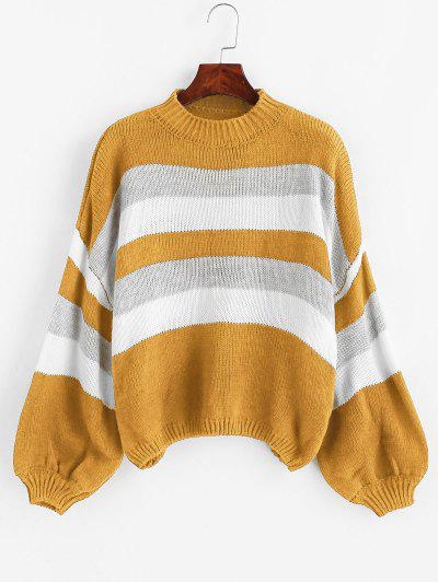Lantern Sleeve Stripes Pullover Sweater - Yellow