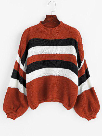 Lantern Sleeve Stripes Pullover Sweater - Red