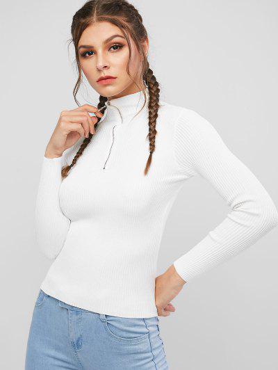 Mock Neck Ribbed Half Zip Sweater - White
