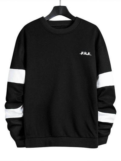 Letter Contrast Panel Crew Neck Sweatshirt - Black L