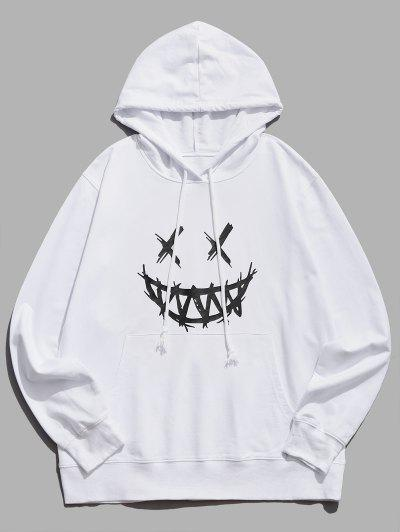 Happy Face Graphic Pouch Pocket Casual Hoodie - White L
