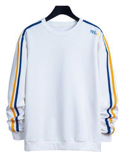 Contrast Striped Letter Print Crew Neck Sweatshirt - White S