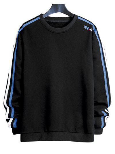 Contrast Striped Letter Print Crew Neck Sweatshirt - Black Xs