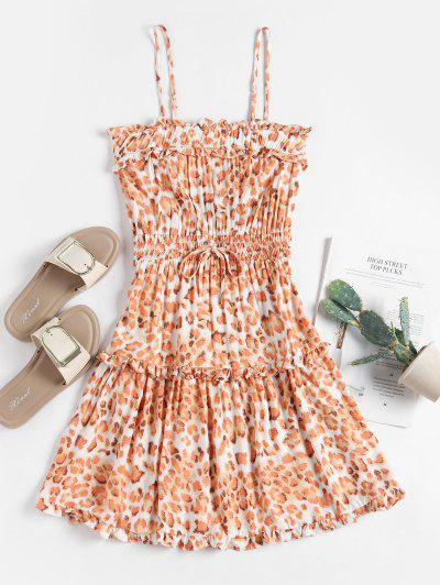 Smocked Waist Leopard Cami Mini Dress - Orange S