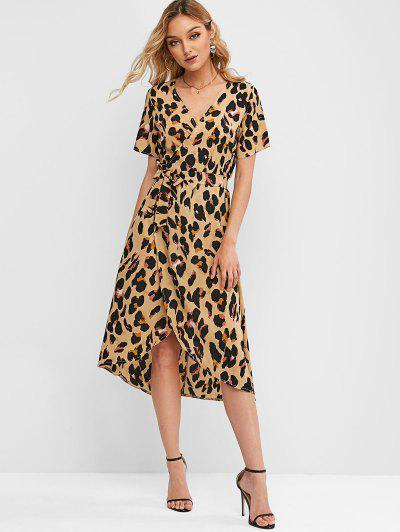 Vestido Cruzado a Media Pierna Estampado Leopardo Cinturón