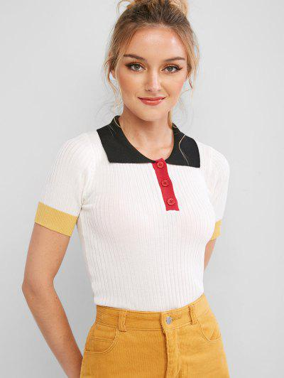 Half Buttoned Colorblock Knitted Tee - White